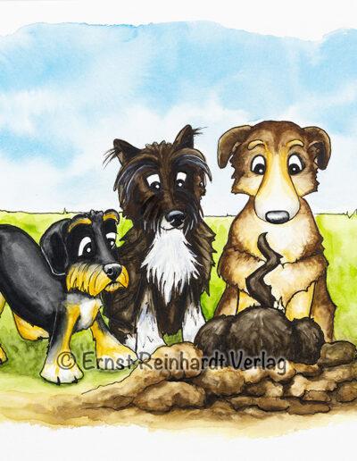 Hunde stehen ums Loch