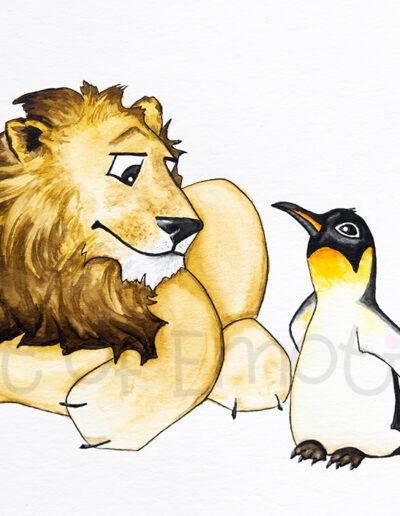 Löwe und Pinguin