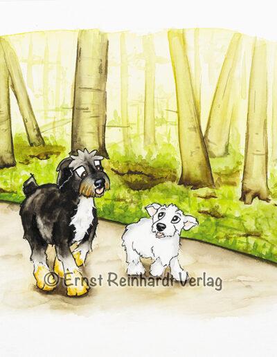 Lucky mit Emil im Wald