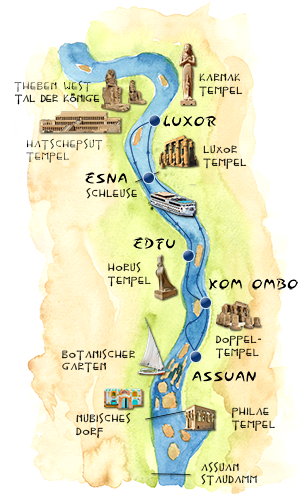 Nilkreuzfahrt Route